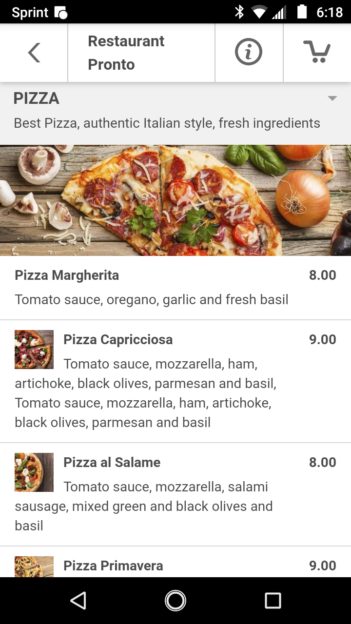 Mobile App Example Ordering Section