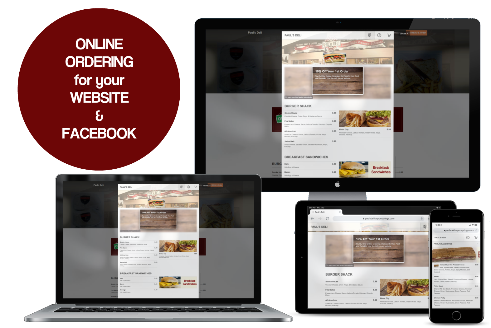 Online Ordering for Restaurants Websites and Facebook